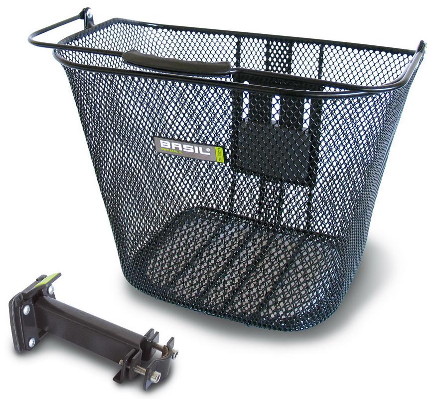 Kurv Basil Basimply EC Sort Front 34x25x27cm Ø22-25,4mm styrstamme TÜV | Bike baskets
