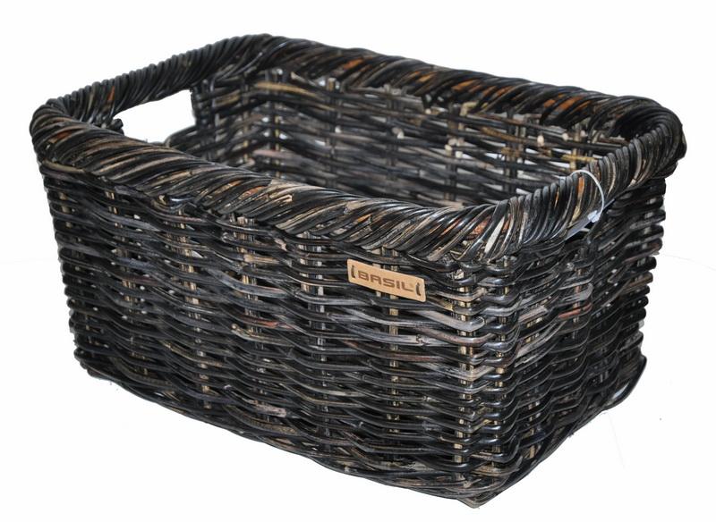 Kurv BASIL NOIR Large Natursort Flet 45x34x31cm | Bike baskets