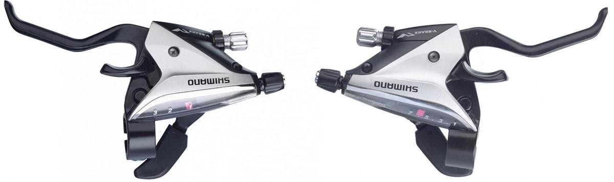 Shimano bremse og skiftegreb STI-greb par ST-EF65 8-speed sølv, 2-finger | Gear levers