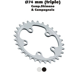 Stronglight klinge Road 34T Ø74 mm 9/10 speed Dural3rd pos., Silver, Alu 5083 | chainrings_component