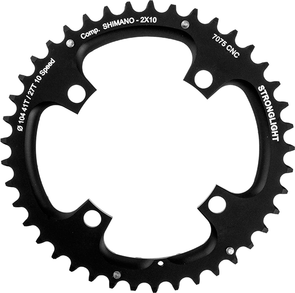 Stronglight klinge MTB 41T Ø104 mm 2x10 speed Zicral1st pos., Shimano, Black, Alu 7075 T6 | chainrings_component