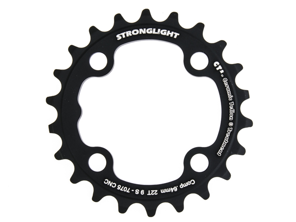 Stronglight klinge MTB 22T Ø64 mm 9 speed CT2 Zicral3rd pos., Black, CT2 - Alu 7075 T6 | chainrings_component