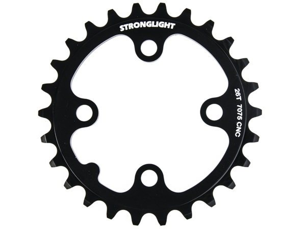 Stronglight klinge MTB 26T Ø64 mm 9 speed Zicral3rd pos., Black, Alu 7075 T6 | chainrings_component