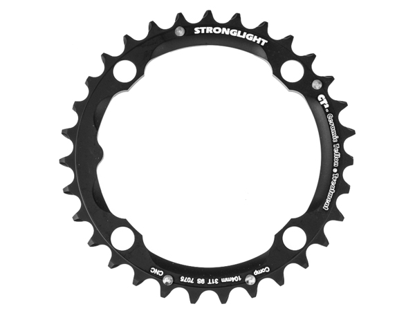 Stronglight klinge MTB 31T Ø104 mm 9 speed CT2 Zicral2nd pos., Black, CT2 - Alu 7075 T6 | chainrings_component