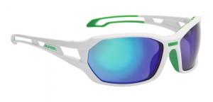 Alpina cykelbriller Alpina Berryn CM+ Whi/grn, glass black mirrored Fogstop | Glasses