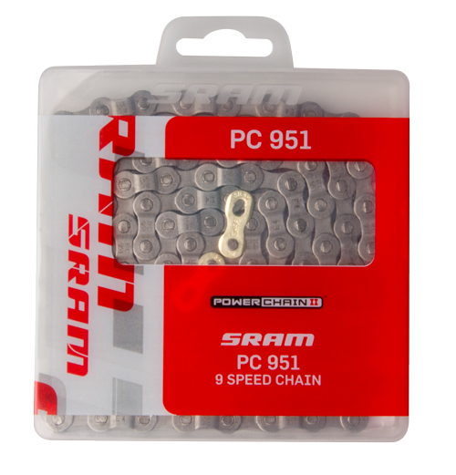 SRAM Chain PC-951 Chrome hardened 9 speed114 links, Nickel plate | Chains