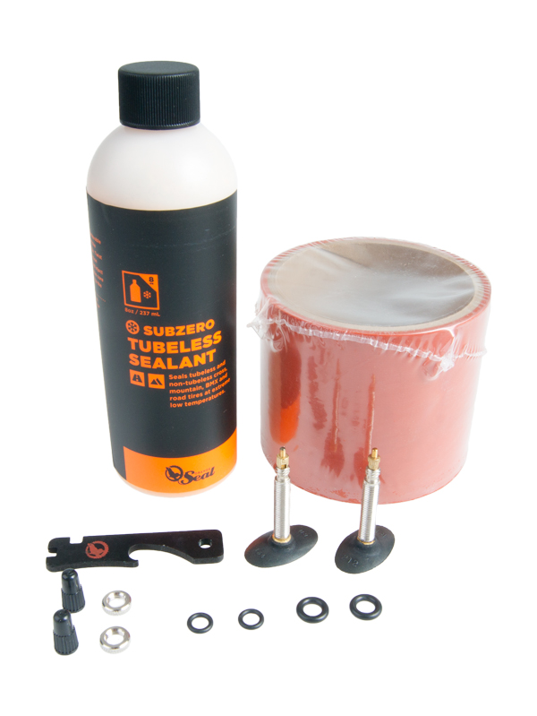 ORANGE SEAL Tubeless kit - 75 mm højtryksfælgbånd and Subzero tætningsvæske Contains: 1x75 mm højtryksfælgbånd (11 m), 2x32 mm removable valve core (RVC) valve | Valve