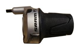 SRAM Twist shifter P5 Tungsten grey 5 speed Rear 1600 mmBlack logo, With mini-clickbox, 50 pcs. in a box (OEM) | Gear levers