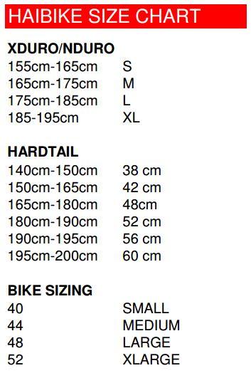 Haibike Size Chart