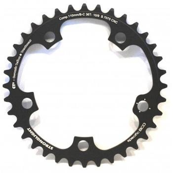 Campagnolo klinge compact (Stronlight) 110Ø 38T 10 sp sort | chainrings_component