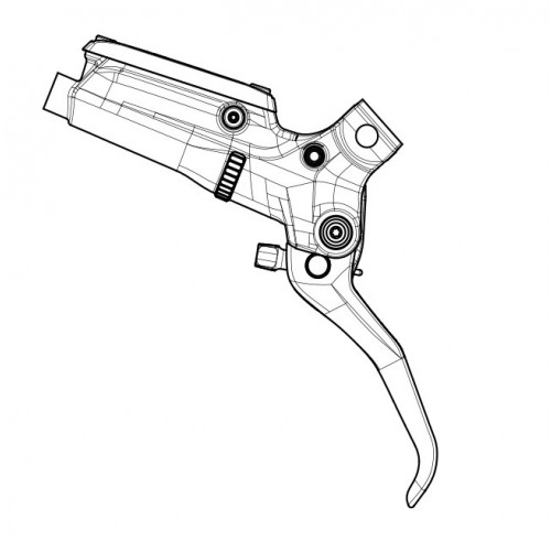 SRAM Lever assembly, hinged clamp, MMX compatible, alu lever For Guide RSC BlackAssembled, no hose
