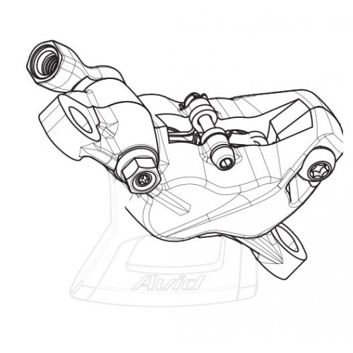 SRAM Caliper assembly, standard (non-CPS) For Guide RSC Silver anodizedAssembled, no hose