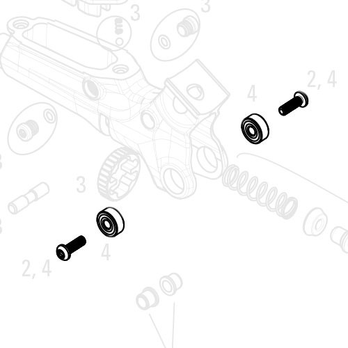 SRAM Lever bearing kit For Guide RSC/Ultimate, X0 TrailIncludes two 1/8x3/8x5/32 bearings and hardware