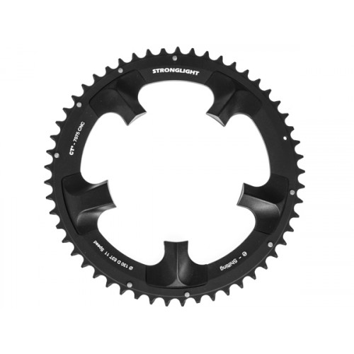Stronglight klinge Road 53T Ø130 mm 11 speed CT2 Zicral1st pos., Shimano, Dura-ace FC-7900/DI2, Black, CT2 - Alu 7075 T6