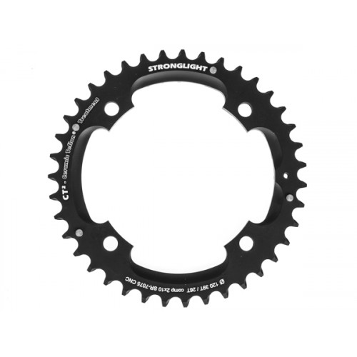 Stronglight klinge MTB 39T Ø120 mm 10 speed CT2 Zicral1st pos., Threads in chainring, Black, CT2 - Alu 7075 T6