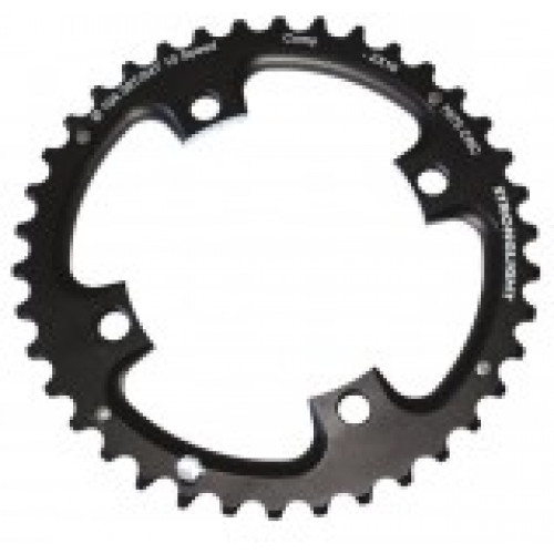 Stronglight klinge MTB 36T Ø104 mm 10 speed Zicral1st pos., Threads in chainring, Black, Alu 7075 T6