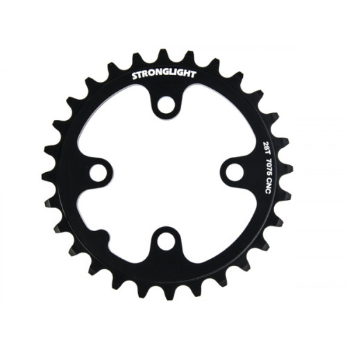 Stronglight klinge MTB 28T Ø64 mm 9 speed Zicral2nd pos., Black, Alu 7075 T6