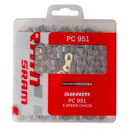 SRAM Chain PC-951 Chrome hardened 9 speed114 links, Nickel plate