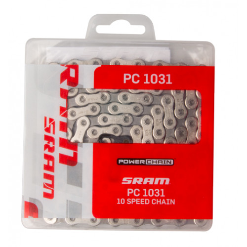 SRAM Chain PC-1031 Solid pin, chrome hardened 10 speed114 links, Nickel plate