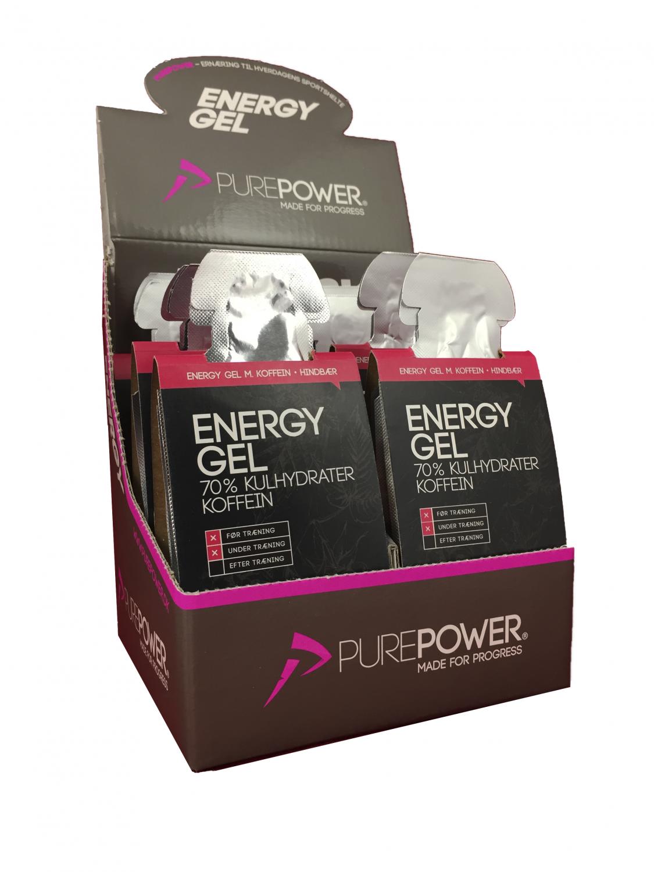 Purepower energy gel med hindbær m/koffein smag 18 X 40g | Energy gels